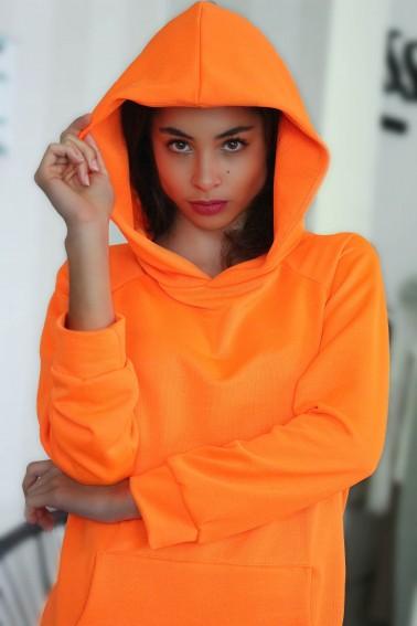 Mikinové šaty IKA/ oranž. neon