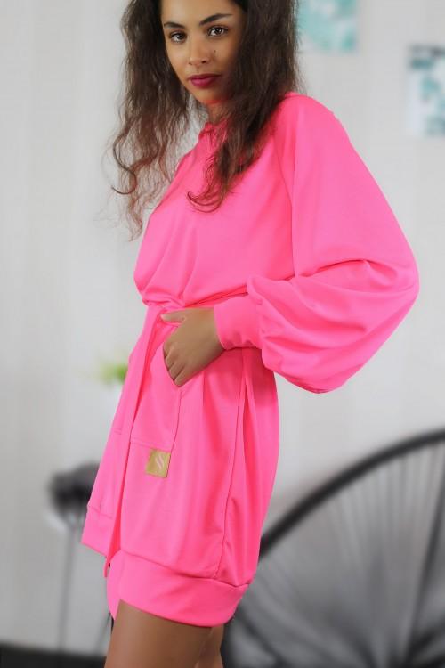 Mikinové šaty IKA/ ružový neon