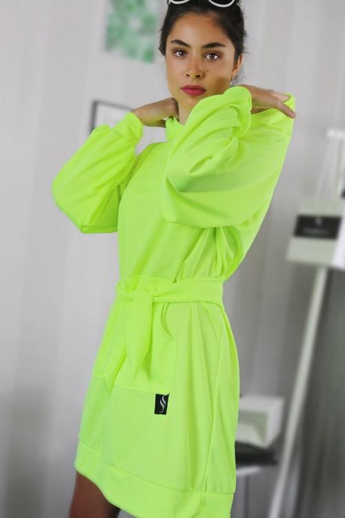 Mikinové šaty IKA/ žltý neon