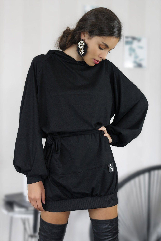 Mikinové šaty IKA/ čierna