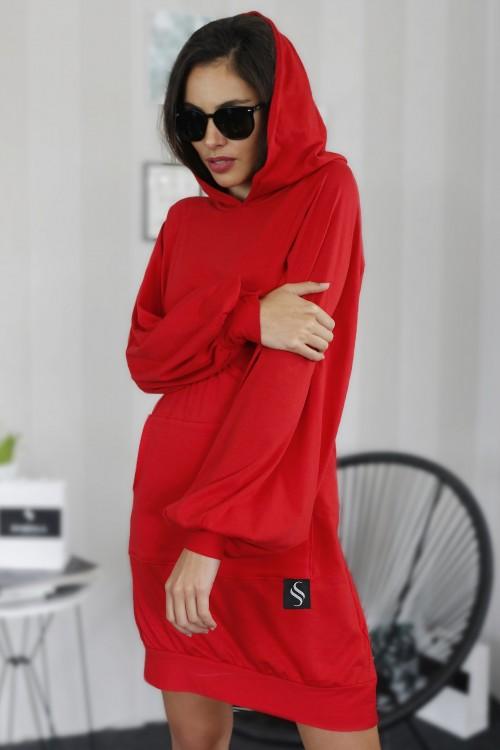 Mikinové šaty IKA/ červená