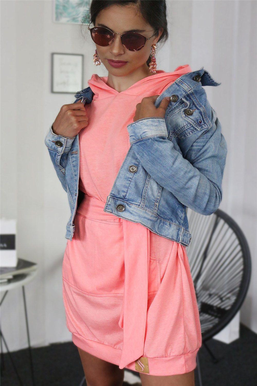 Mikinové šaty IKA/ marhuľková