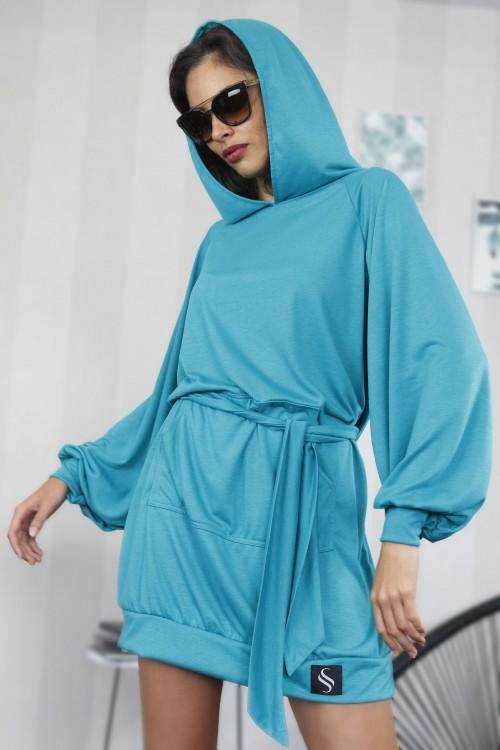 Mikinové šaty IKA/ tyrkysová