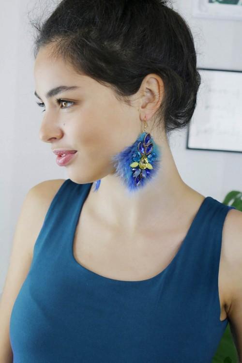 Earrings luxury blue