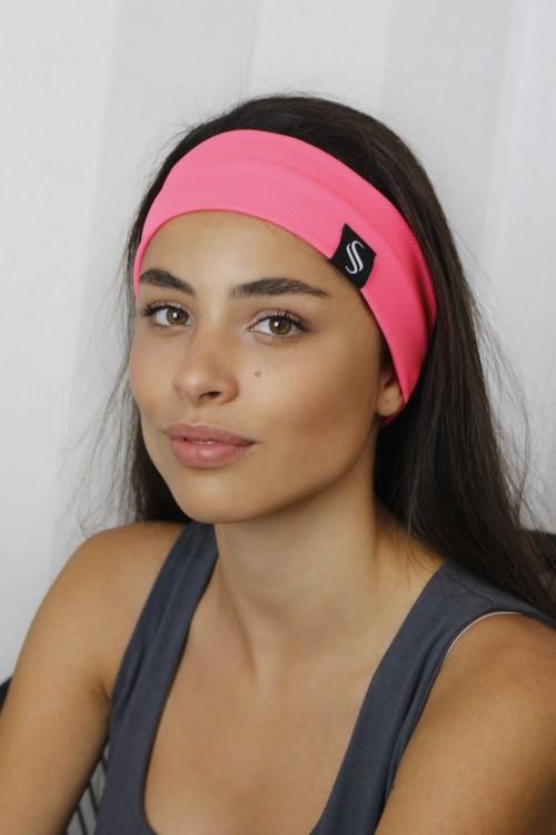 Látková čelenka Oli-ružový neon