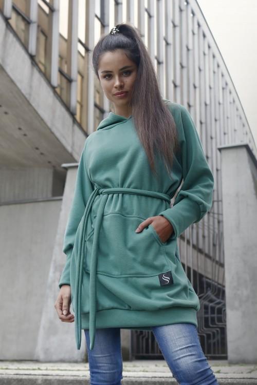 Mikinové šaty IKA/ zelené