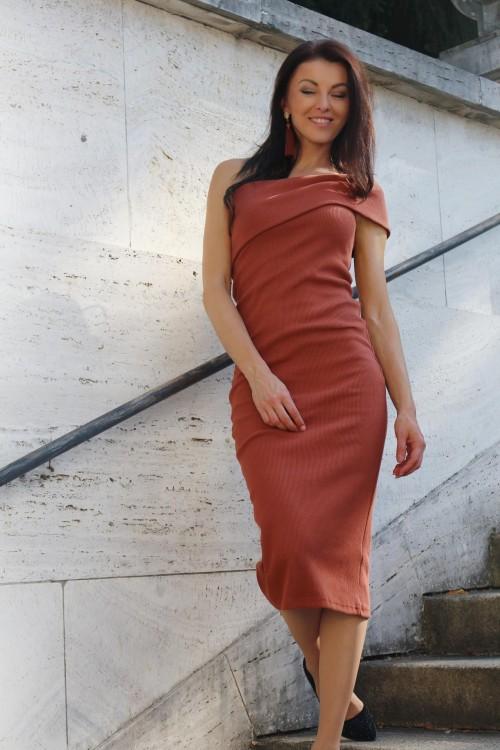Midi šaty Chiara/ škoricové