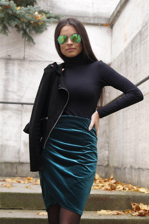 Sukňa zamat - zelená