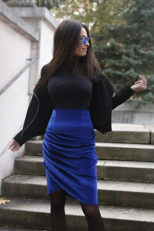 Sukňa zamat - modrá