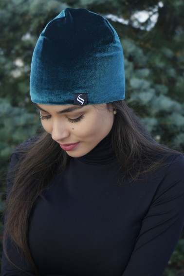 Jesená zamatová čiapka - smaragdová