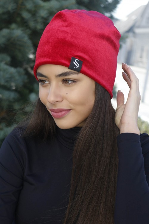 Jesená zamatová čiapka - červená