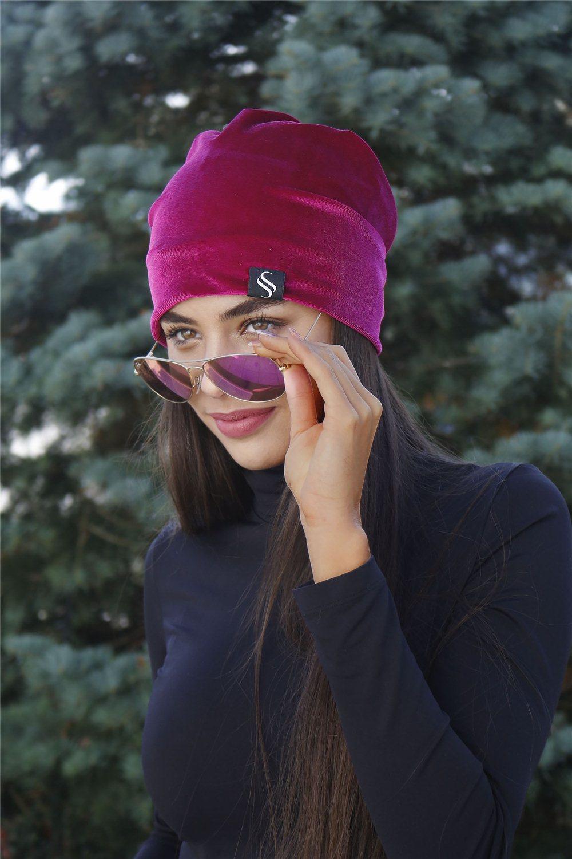 Jesená zamatová čiapka - cyklamenová
