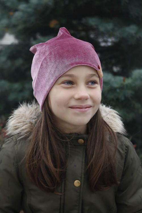 Detská zamatová čiapka - ružová