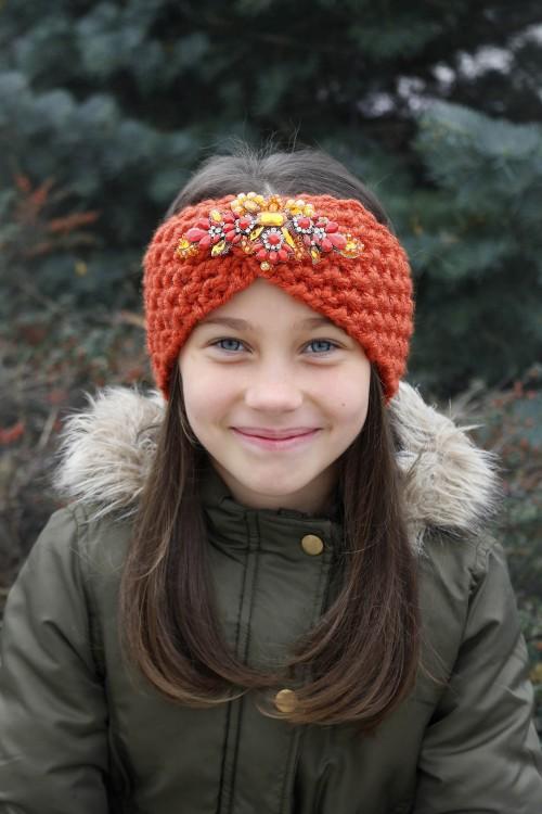 Detská štrikovaná čelenka - oranžová