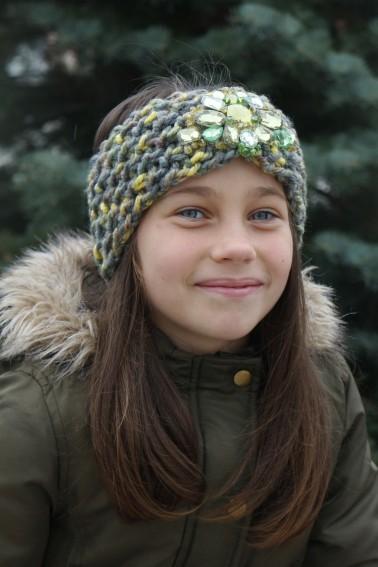 Detská štrikovaná čelenka - zelená