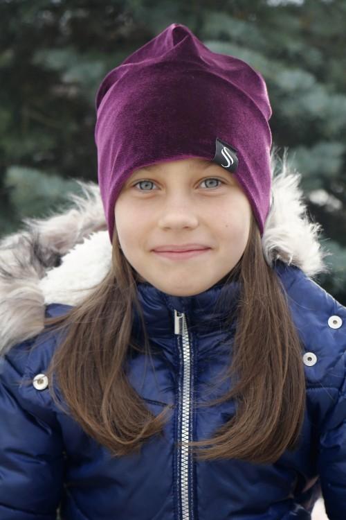 Detská zamatová čiapka - fialová