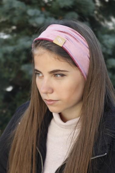 Zamatová šport čelenka - ružová