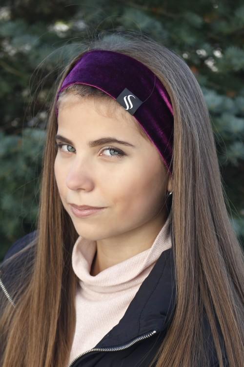 Zamatová šport čelenka - fialová