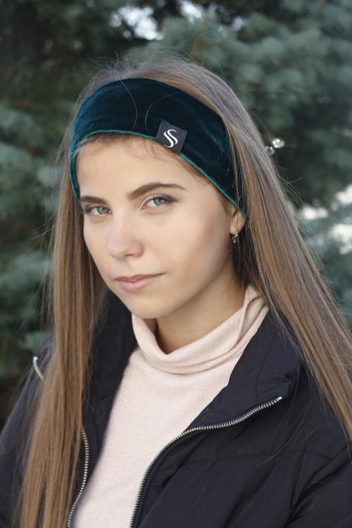 Zamatová šport čelenka - smaragd