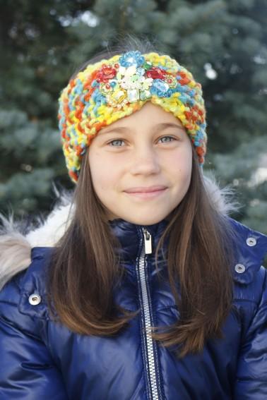 Detská štrikovaná čelenka - farebná