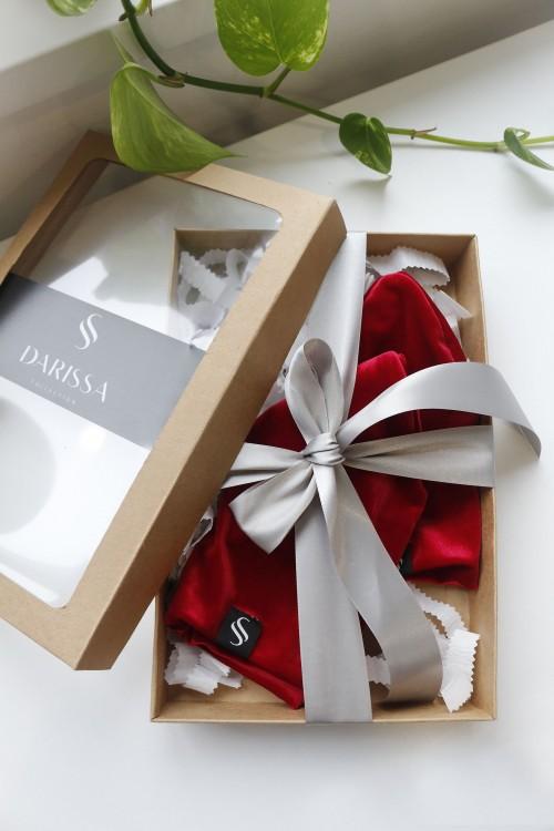 Darčekový set zamatových čiapiek - červená