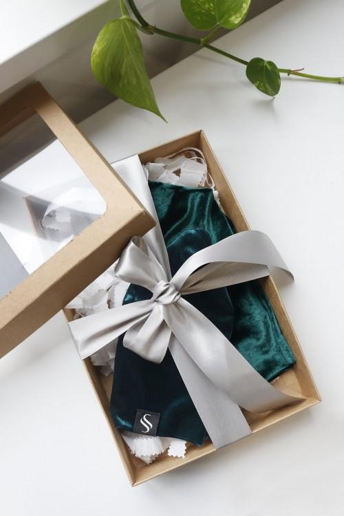 Darčekový set zamatových čiapiek - smaragd