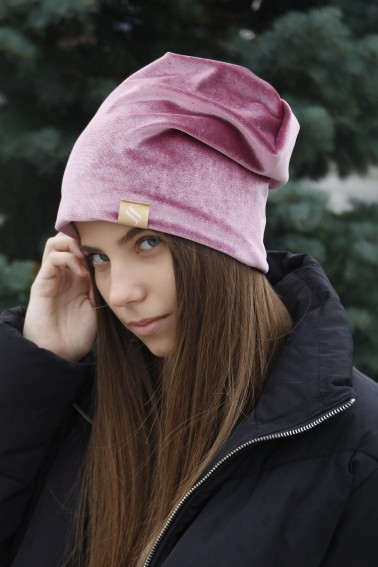 Darčekový set zamatových čiapiek - ružová