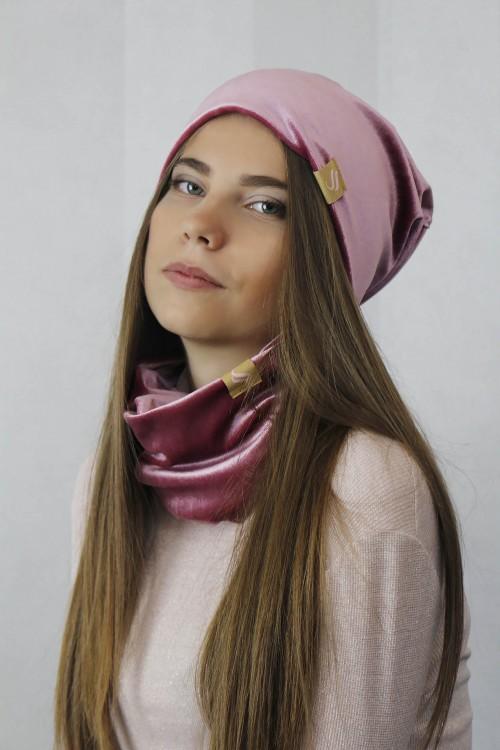 Zamatový nákrčník - ružová