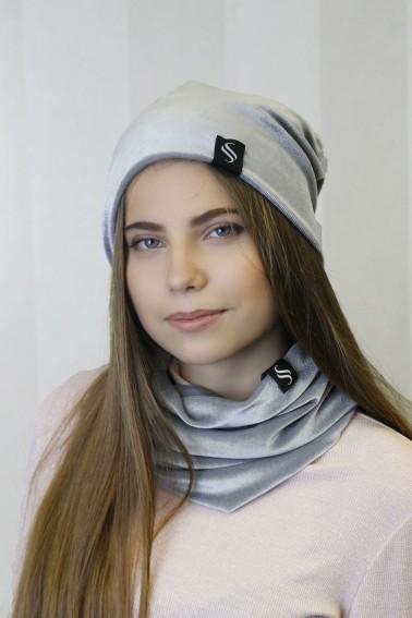 Zamatový nákrčník - šedý