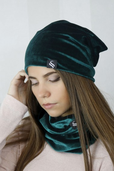 Set,čiapka a nákrčník - smaragd