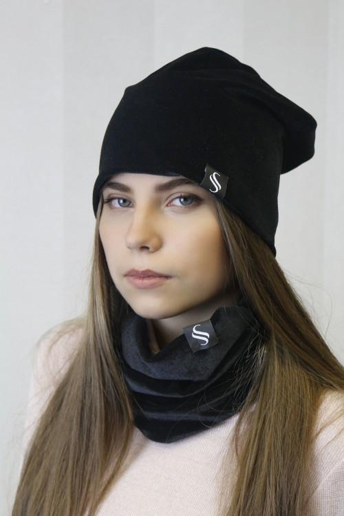 Set - čiapka a nákrčník, čierna