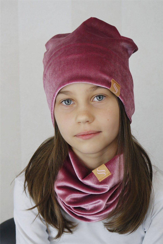 Detský set čiapka a nákrčník - ružová
