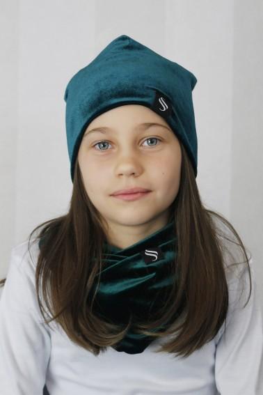 Detský set čiapka a nákrčník - smaragd