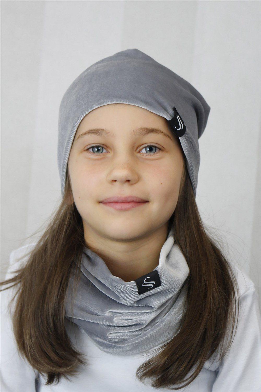 Detský set čiapka a nákrčník - šedý